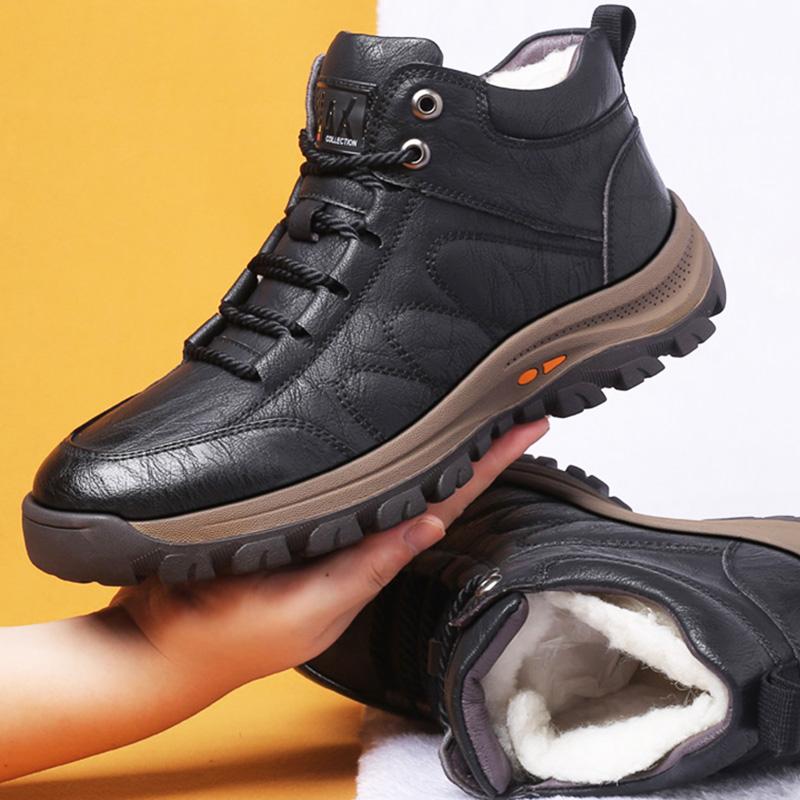 冬季棉鞋男士新款羊毛保暖加绒加厚皮毛一体运动休闲户外高帮鞋子