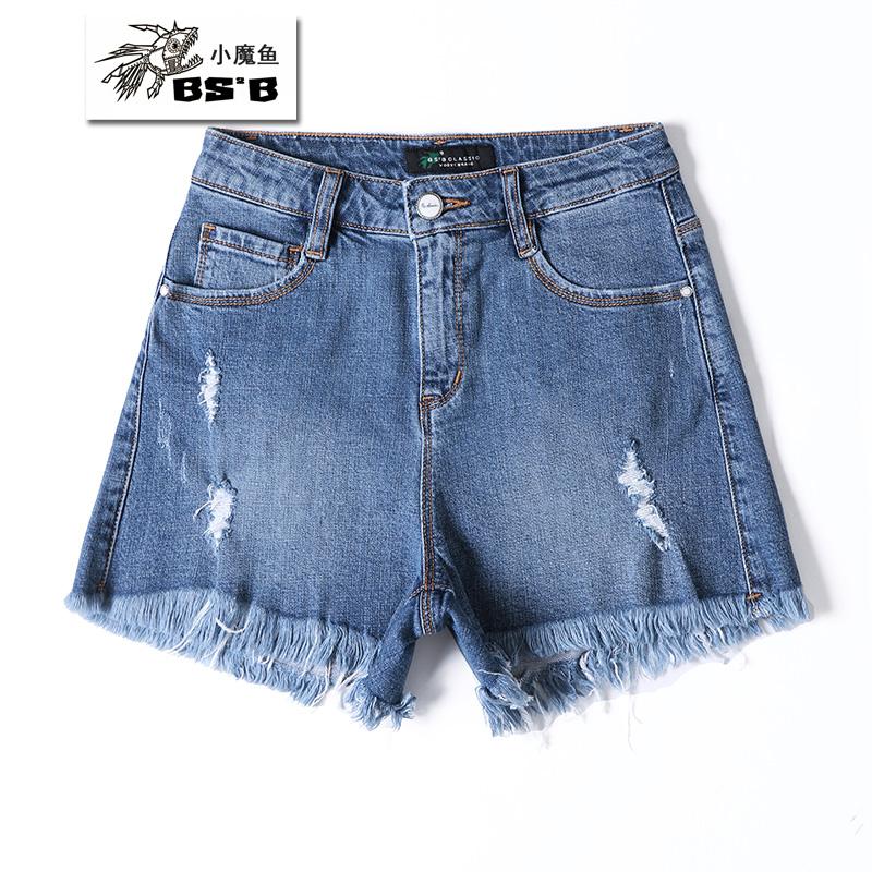 小魔鱼破洞裤女士夏季新款留梳散边芝麻街怀旧短裤牛仔热裤386885
