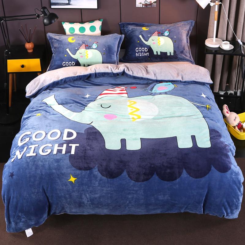 卡通加厚冬季水晶法兰绒床上四件套床单床笠款双面珊瑚绒儿童被套(非品牌)