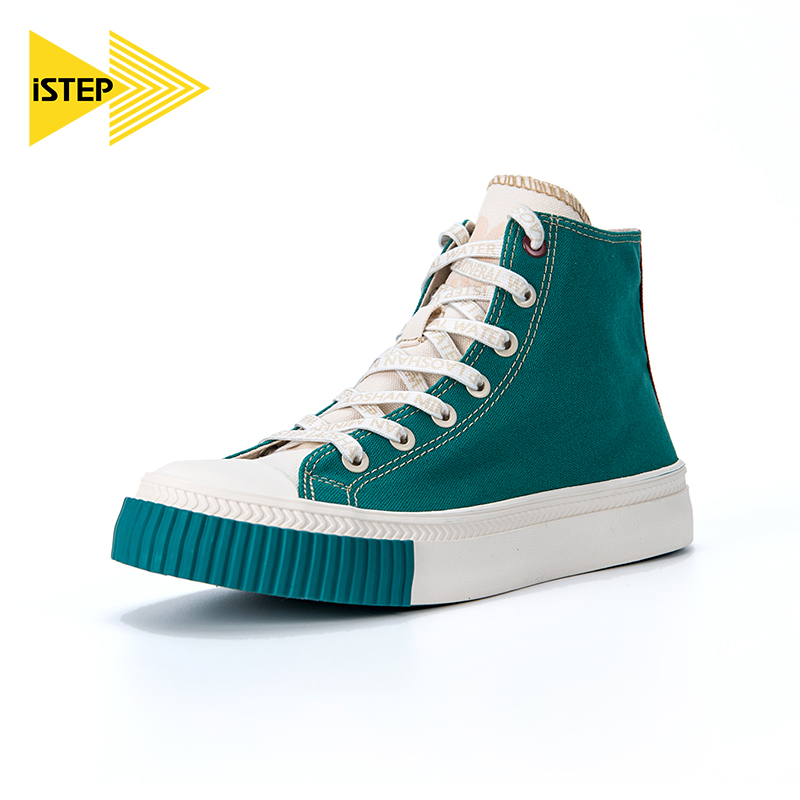 istep canvas shoes women's Laoshan white flower snake grass water joint new product small white shoes high-top couple men's sneakers