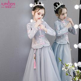 女童汉服秋冬加绒中国风唐装儿童古装超仙公主裙冬女孩童装连衣裙