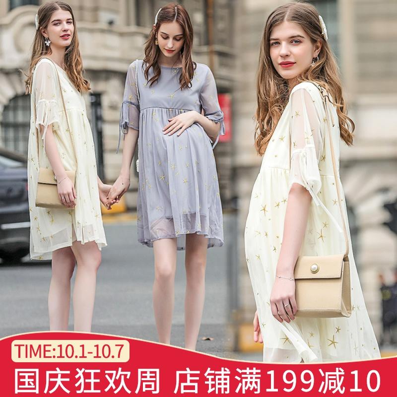 孕妇夏装时尚款2019新款潮妈孕妇裙118.00元包邮