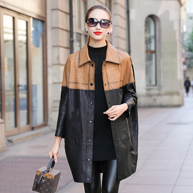 Cocoon leather leather jacket women's mid-length jacket 2020 autumn new style Haining imported sheep leather temperament women's trench coat
