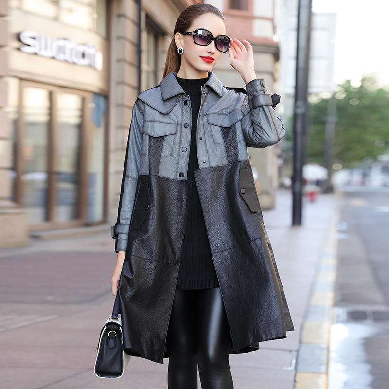Aobaizhi 2020 autumn new imported sheep skin coat leather coat women's middle and long temperament windbreaker coat