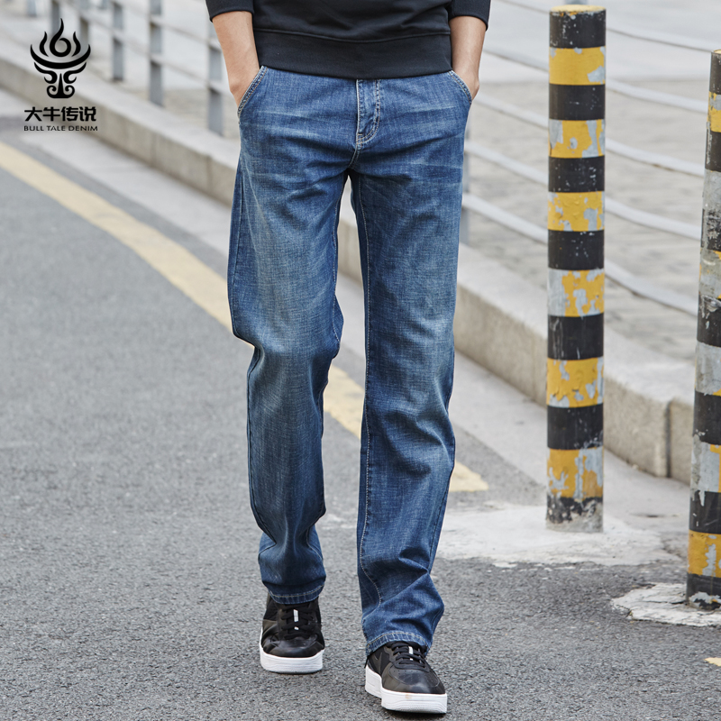Big bull legend summer thin section jeans male straight loose high-end spring elastic plus fertilizer large size casual trousers