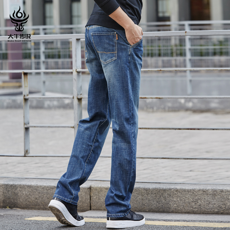 Legend of Daniel spring and summer loose jeans men's casual straight elastic fat wide leg fat big size jeans