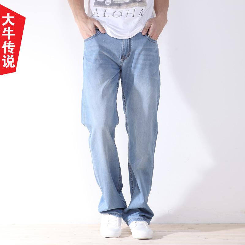 大牛传说夏季超薄款牛仔裤浅蓝色男宽松直筒加肥加大码阔腿长裤子