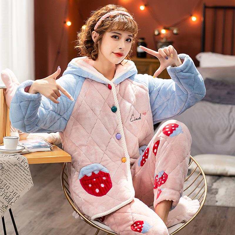 睡衣女冬季三层加厚夹棉睡衣女珊瑚绒法兰绒秋冬保暖可外穿家居服