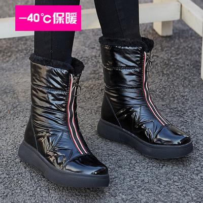 冬季新款雪地靴女中筒韩版加绒加厚防水防滑保暖棉鞋高帮长筒靴子