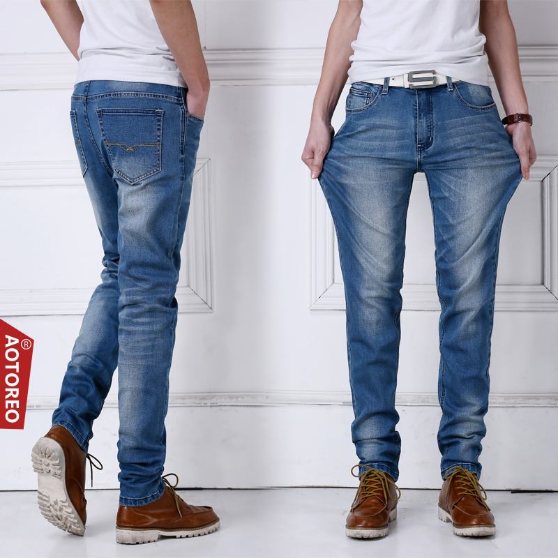 Spring and summer high stretch jeans mens elastic waist straight tube loose legged pants