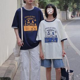 衫岛短袖t恤男夏季潮流ins日系创意印花韩版宽松半袖学生情侣装潮