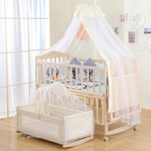 Solid Wood Baby Bed Lacquerless Baby Bed BB Bed Newborn Cradle Multifunctional Children's Cradle Bed with Mosquito Nets