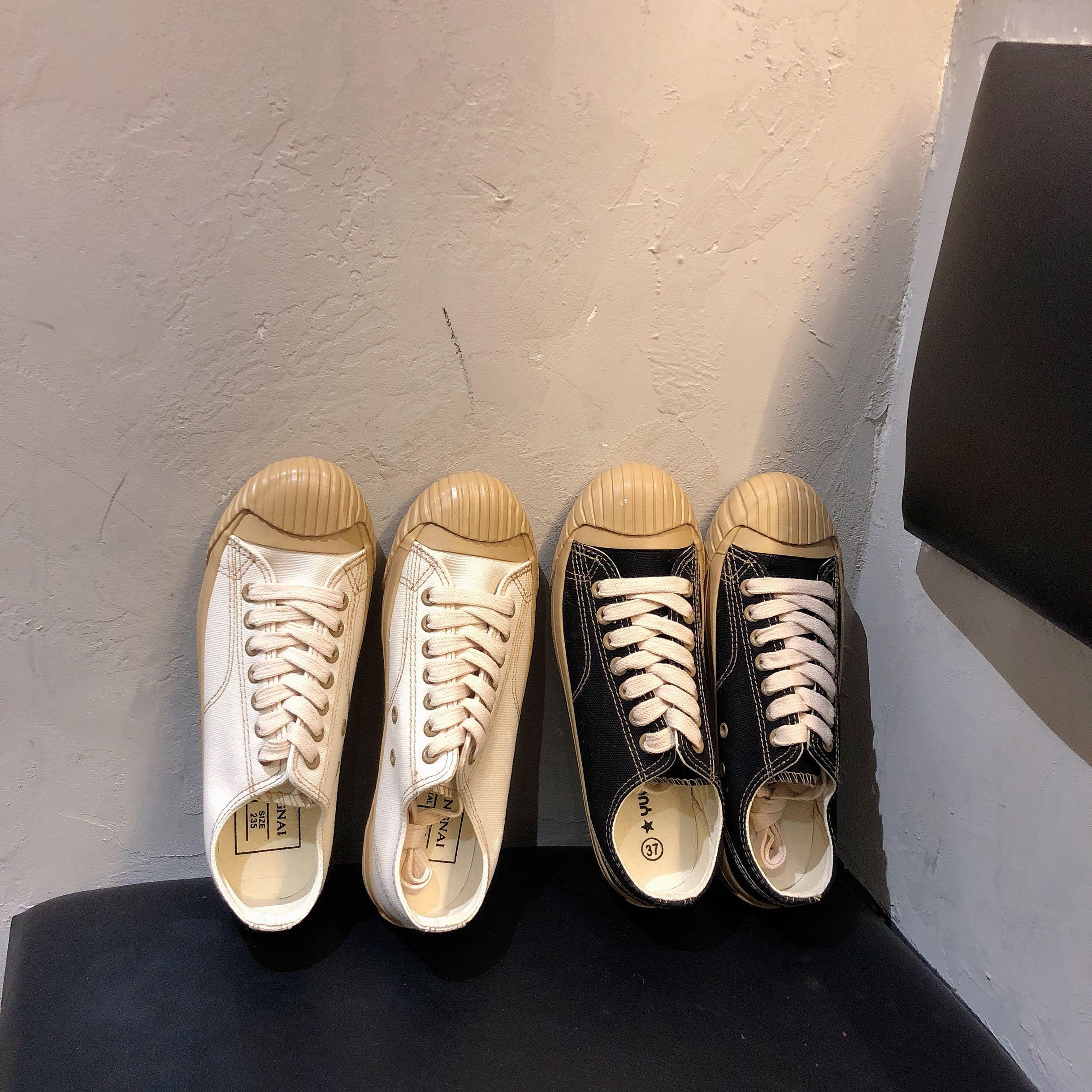 實拍 實價復古貝殼頭女學生原宿日系ins久留米硫化工藝軟底帆布鞋