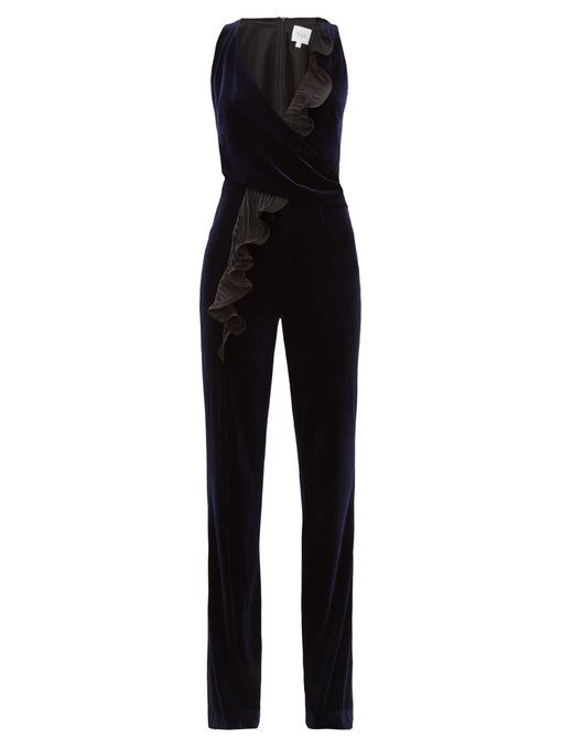 50% off package mail agent purchase Galvan 2020 Black Ruffle lace splicing Jumpsuit for women outdoor