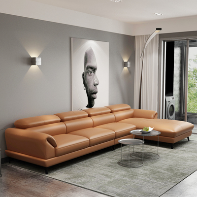 Leather sofa first layer cowhide living room simple modern light luxury size apartment left and right combination corner 2021 new