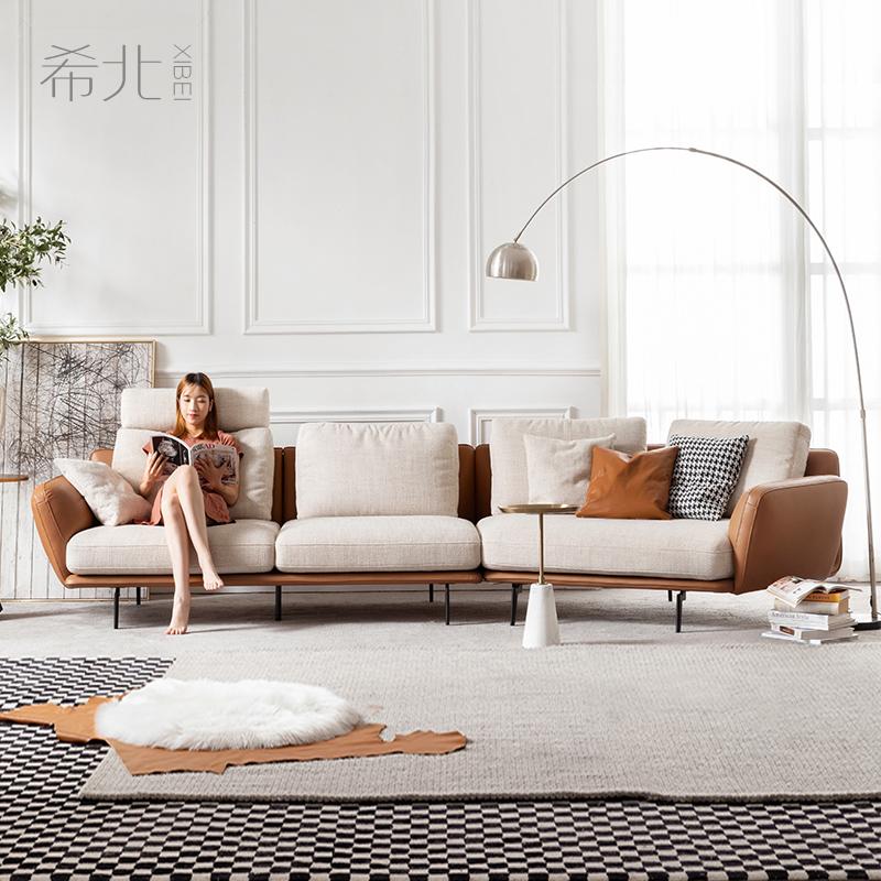 沙发北欧布艺轻奢风客厅转角简约现代异形意式极简皮布沙发大户型