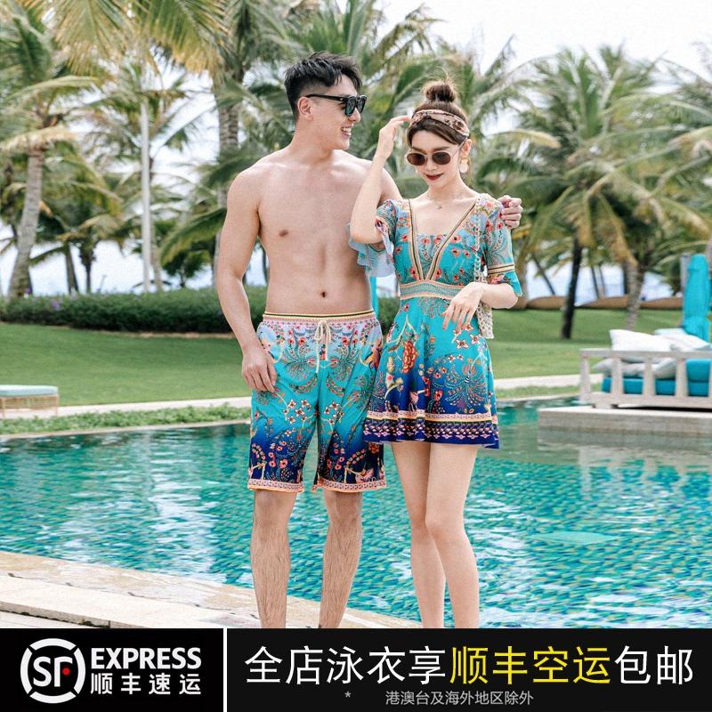 情侣泳衣女新款连体裙式保守显瘦遮肚海边度假男士沙滩裤温泉泳装