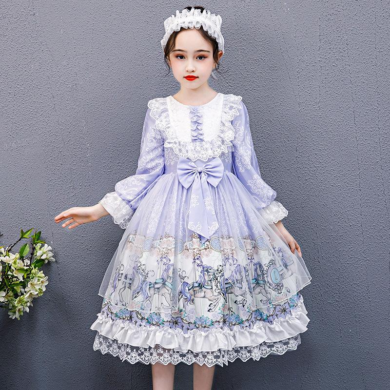 女童连衣裙秋冬洛丽塔公主裙小女孩生日裙萝莉塔中大童紫色网纱裙