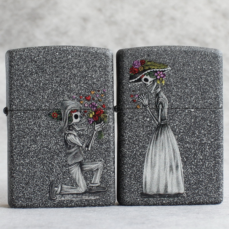 Genuine Zippo windproof lighter iron sand stone color printing couples love for machine skeleton will you marry me 28987