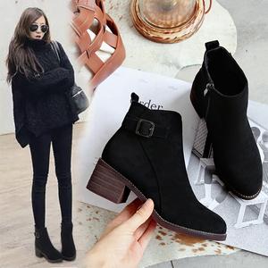 靴子女短靴2021冬季新款高跟粗跟ins马丁靴女短筒网红瘦瘦靴棉鞋
