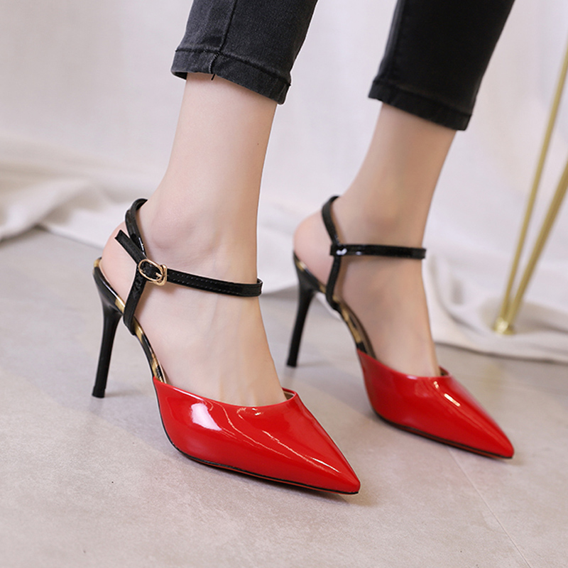 2020 new fashion color matching Baotou sandals womens sandals back empty high heels womens pointed thin heel patent leather womens shoes