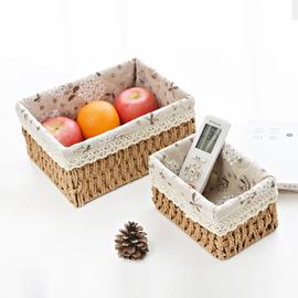 桌面杂物收纳筐草编织纸绳面膜化妆品置物筐日式床头收纳盒藤编篮