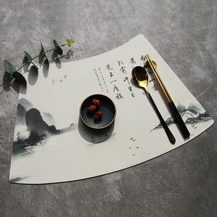圓桌扇形餐墊高檔中式中國風新中式防水防油家用PU皮革酒店定製大