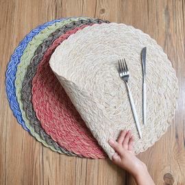 编织创意圆形北欧风加厚餐垫家用简约隔热垫锅垫防烫防滑垫装饰垫
