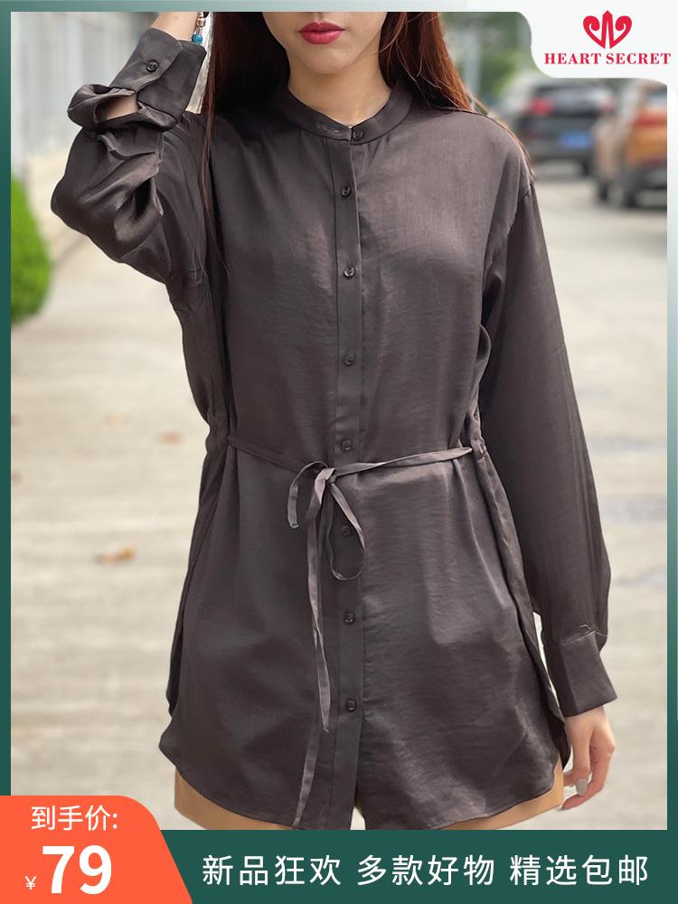 2021 spring and summer new shirt round neck waist slim long sleeve small stand collar womens temperament niche design top