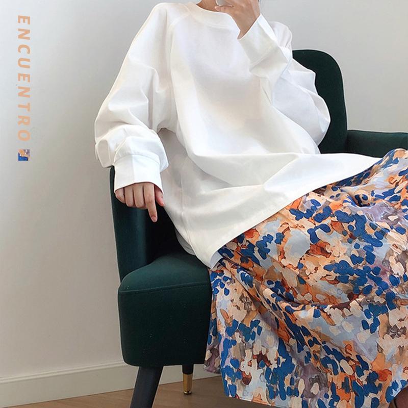 油画感印花半身裙中长款2021春季新款小清新女显瘦抽象派裙子潮27