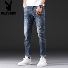 Playboy's Summer Thin Jeans with Holes in Everything, Men's Shaping Nine Points Men's Tide Pants Korean Version
