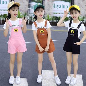 女童夏季背带短裤套装4-12岁中大童儿童短袖背带裤两件套纯棉洋气