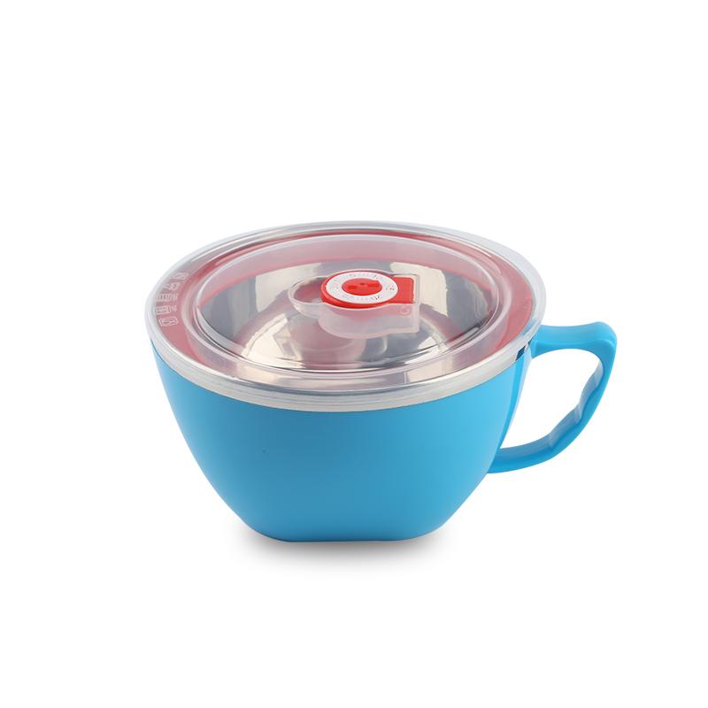 趣巢304不锈钢带盖学生泡面碗面条杯方便面碗防烫大容量有手把
