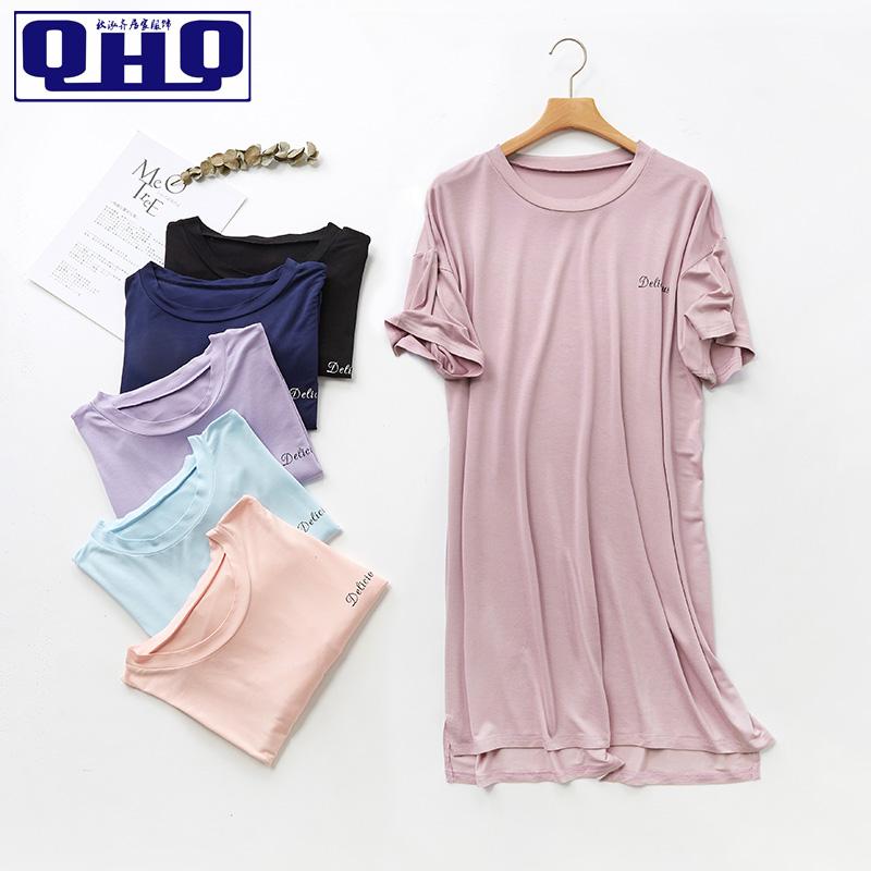 10月14日最新优惠夏莫代尔薄款中长款短袖睡裙连衣裙