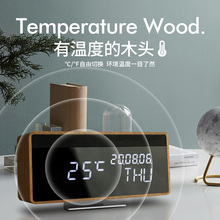 Vintage wood alarm clock led mute creative rechargeable bedside clock students use electronic clock lazy desktop clock