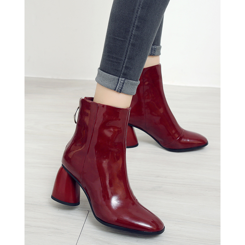 Wine red patent leather square head high-heeled fashion boots fashion thick heel back zipper solid color womens casual versatile short boots