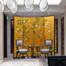 手绘漆画现代轻奢客厅卧室隔断折叠木质屏风活动不透明背景墙包邮