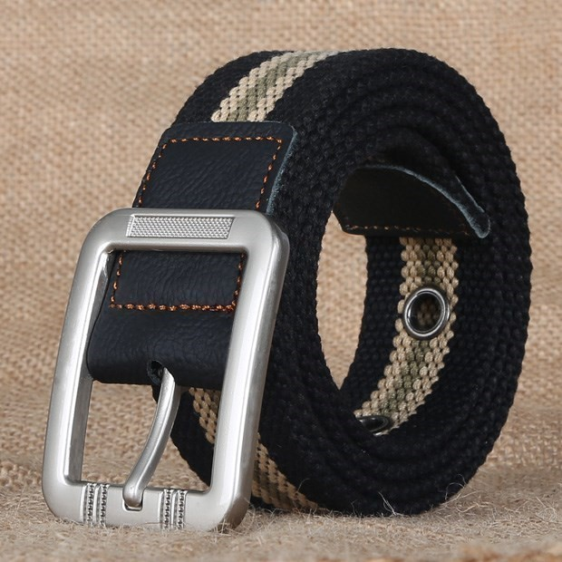 Summer student military training Korean youth jeans with ring canvas belt for women simple cloth belt for men