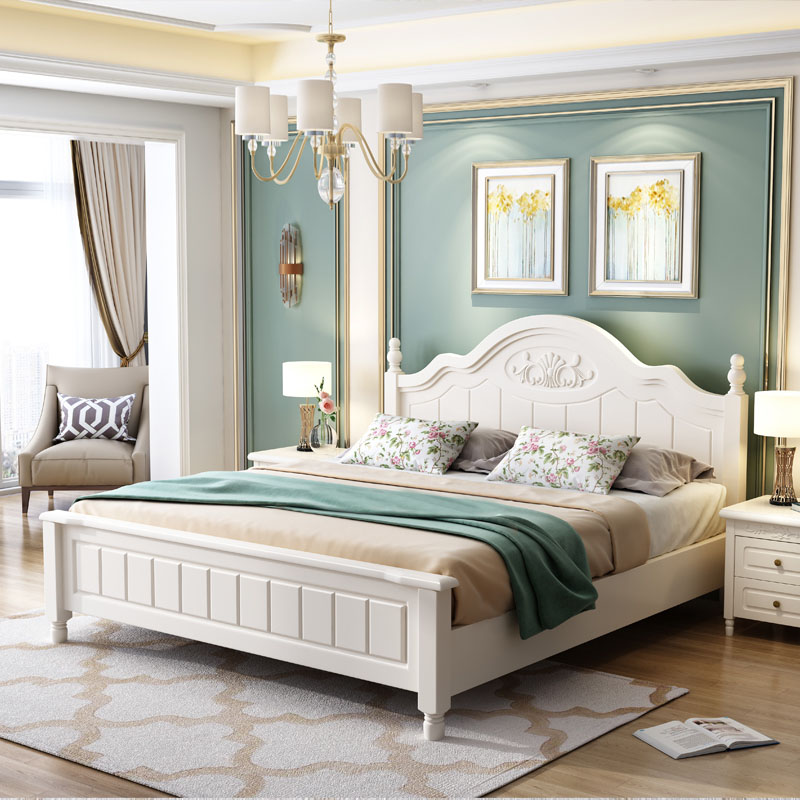 Childrens bed girl 1.5m solid wood bed modern simple 1.2 single bed girl Korean small family princess bed
