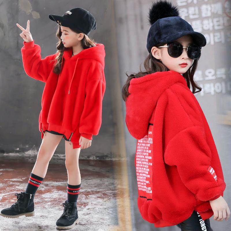 女童加绒毛毛衣冬季新款中大儿童韩版学生宽松童装保暖卫衣外套潮