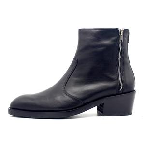 JINIWU吾倪季男士高跟靴牛仔工靴拉链设计师皮靴增高尖头格调短靴