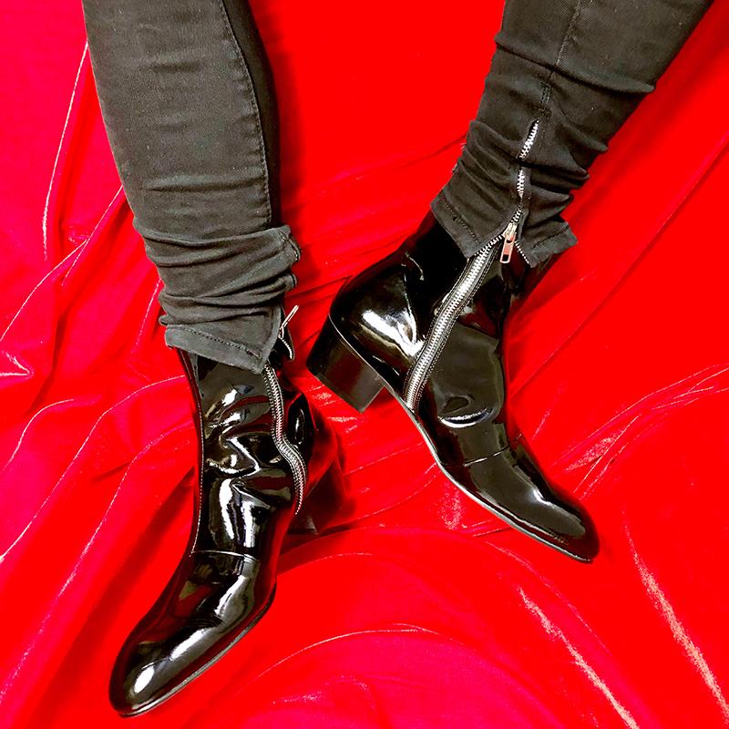 JINIWU Wu Ni сезон осень и зима красивый поле новый серия мужской на высоких кабгалстук-бабочкаах масло черная молния ручной работы повышать наконечник ботинки