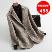 2019乐动体育下注 零双面羊绒大衣女 反季 韩版 格子双面呢羊毛呢子外套中长款