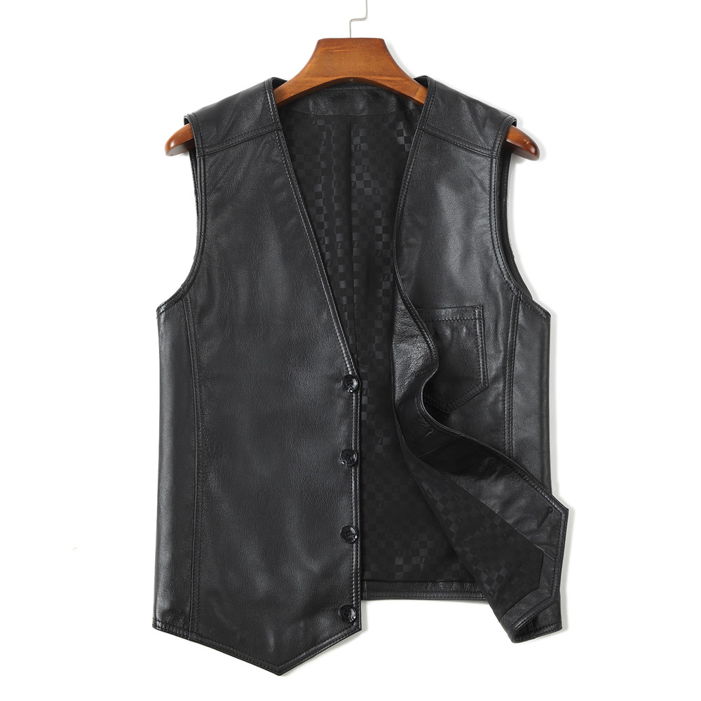 Middle aged and old peoples leather waistcoat with imitation deer pattern, mens leather shoulder suit, fashionable casual leather vest