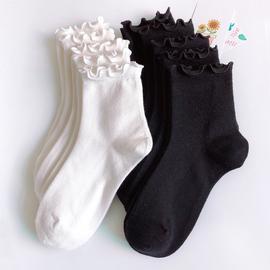 袜子女秋冬季日系木耳边女袜学院风中筒袜厚女生小清新文艺小白袜