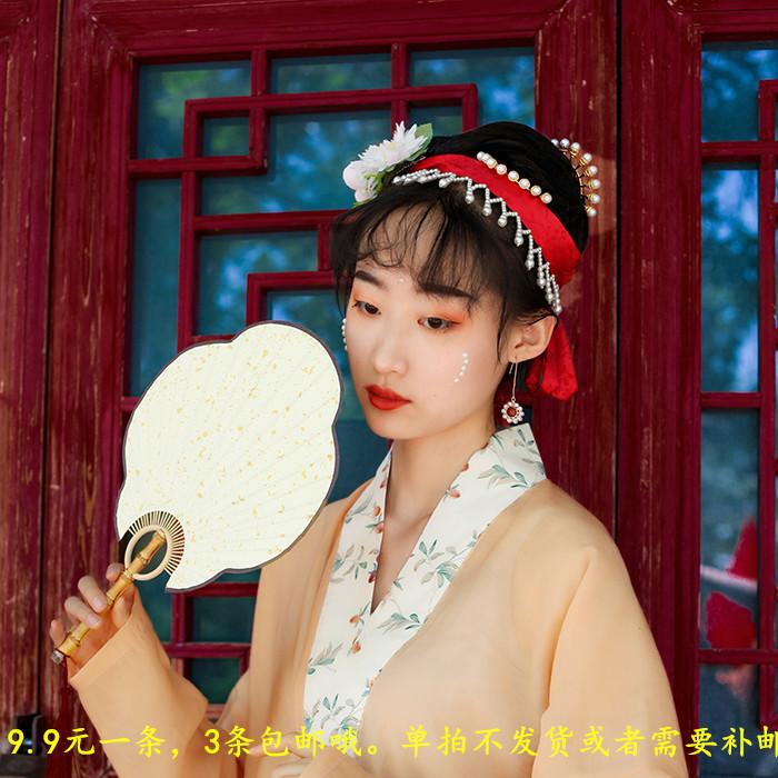 纯色红色暗纹提花珍珠发带汉服配饰围髻两用复古镶嵌妆造发型发饰