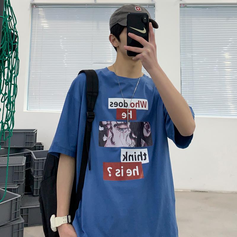 2020年夏季男印花短袖T恤打底衫圆领纯棉宽松潮流港风半袖体恤