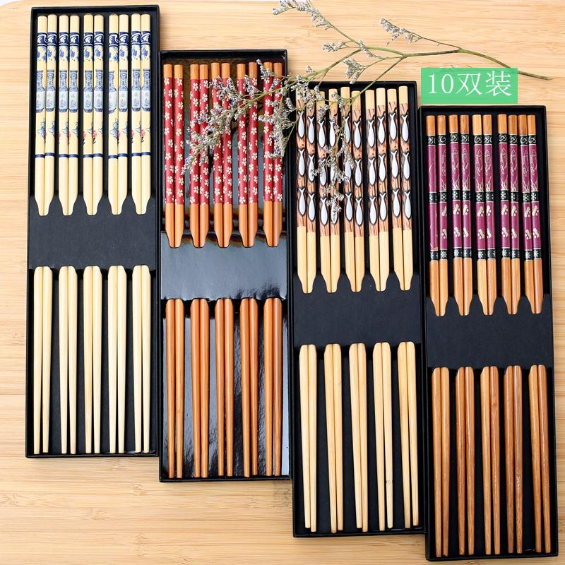 竹筷子家用礼盒装天然无漆酒店筷无蜡高端家庭装10双碳化筷包邮