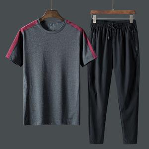 裤子男士夏天中老年爸爸服装运动休闲速干冰丝套装松紧腰长裤直筒