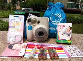 包邮富士拍立得一次成像mini7s粉色/蓝色 相机套装12件套 行货